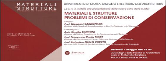 Materiali e strutture problemi di conservazione